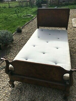 Vintage Quality Wooden Walnut Single Bed (by Gill & Reigate)