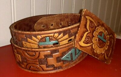Vintage Tooled Leather Belt Aztec Thunderbird Hand Painted Waist Size 30