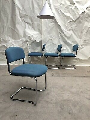 Vtg Late Mid Century Set Of 4 Chrome Stacking Dining Chairs Conran Habitat Style
