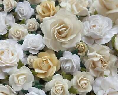 White Ivory Paper Rose Mix, Mulberry Paper Flowers, Wedding Embellishments x100!
