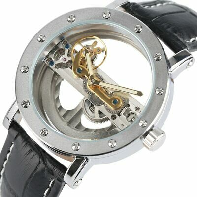 6594f0987 Luxury Hollow Automatic Watches Mechanical Black Leather Xmas Gifts For Him  Men
