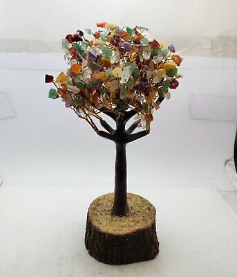 Natural Multi Color Mix Gemstone Hand Made Tree Table decorated 280 MM