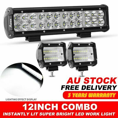 "12inch CREE LED Light Bar Spot Flood Combo Beam Work Driving Offroad +4"" Flood"