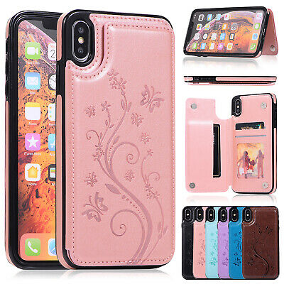 For iPhone XS Max Card Holder Case Leather Protective Wallet Cover XR 8 7 6 Plus