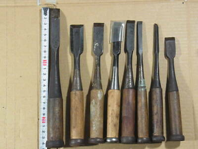 Japanese Used Chisel Nomi with Sign Set of 8 Carpentry Tool Japan Blade