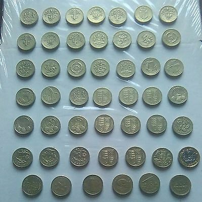 Rare Set 41 Circulated United Kingdom Round £1 One Pound Coins 1983-2015 & Bonus