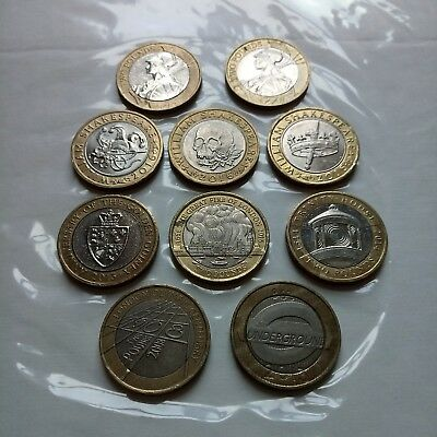 Lot of 10 £2 Two Pound Rare Coins Coin Hunt Different Designs / Years Circulated
