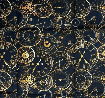 Black and Gold Clocks Cotton Fabric Streampunk Dressmaking Cosplay Design
