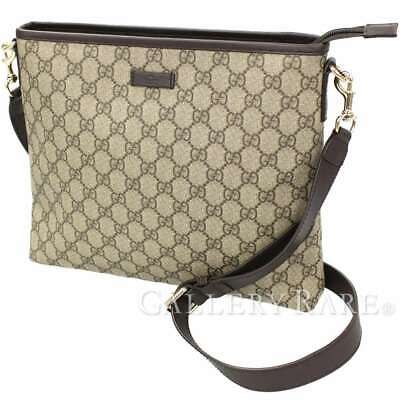 0055a26995803d GUCCI Shoulder Bag GG Supreme Leather Beige Brown 388924 Authentic 5380633
