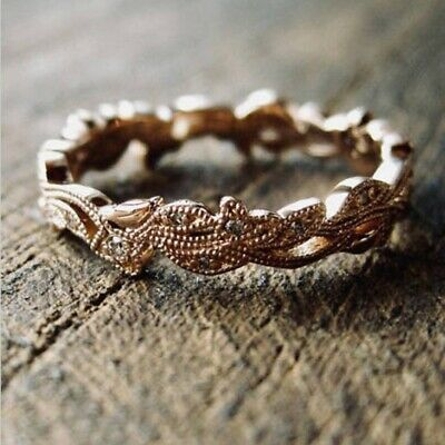 Retro Bronze Wedding Women Leaf Flower Engagement Band Ring Size 6-10