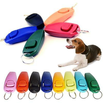 2 in 1 Dog Pet Puppy Cat Training Clicker Whistle Click Trainer Obedience