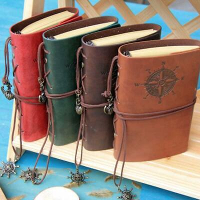 Retro Vintage PU Leather Bound Blank Page Notebook Note Notepad Journal Diary BG