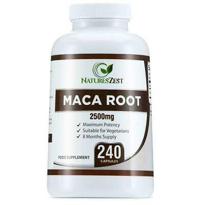 Maca Root Capsules 2500mg 240 Capsules 8 Month Supply by Natures Zest Caps   RS6