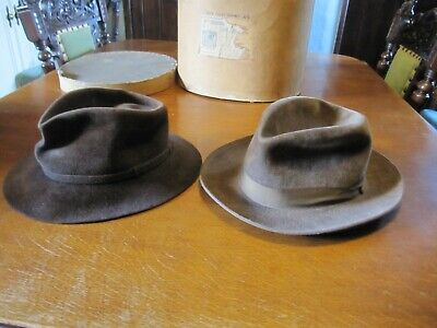 28e1fd6dc TWO VINTAGE DUNN & Co 1960s Trilby Hat Brown English Velour.+ Old Hat Box