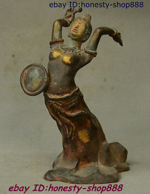 Collect China Purple Bronze Gilt Beautiful Woman Beauty Belle Drum Statue 9 inch