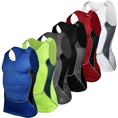Mens Compression Under Skin Base Layer Tight Tops Vest Sports T-Shirts Athletic