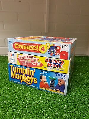 Family / Kids Classic Board Game Bundle Guess Who, Tumblin' Monkeys, Connect 4