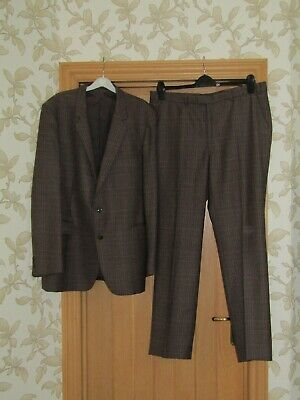 """Boss Finland heavyweight quality vintage brown check suit 44"""" 39x31.5"""" exc cond"""
