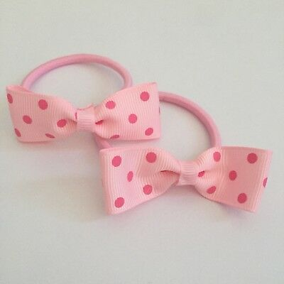2 Packs Of Baby Pink Polkadot hair bobbles/hair bow/girls Accessories
