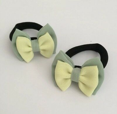 Pair Of Green fern and yellow Hair bow bobbles/hair Accesories/School Uniform