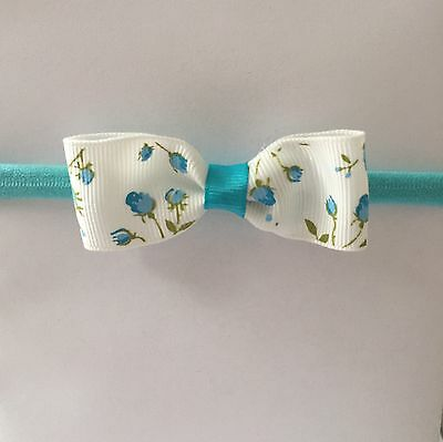 1 Pack Of Blue Flower Stretchy Headband/hair Accesories/Newborn-7 Years Old