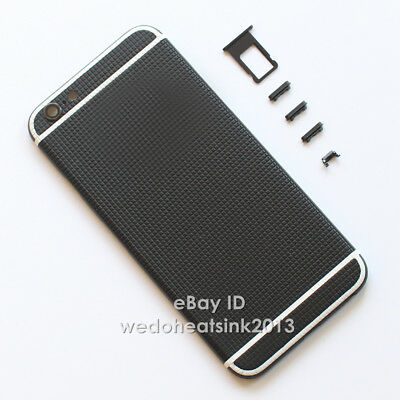 Texture Non-Slip Black Metal Back Housing Rear Battery Door Cover For iPhone 6