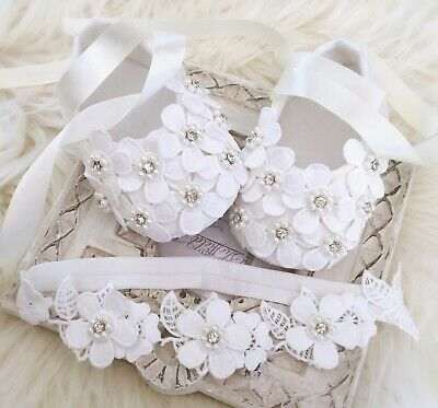 Baby Girl Off White Christening Shoes Baptism Shoes Daisy Flowers Pearls Blink