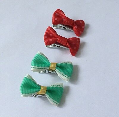 4 Pacs Of Red Dotty & Turquoise Bow Baby Hair Clips/ Aligator Clip/baby Clip
