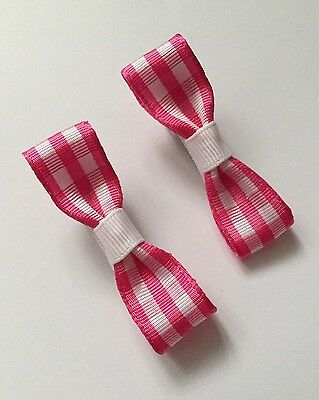 2 Packs Of Pink And White hair bow Clips/hair Accesories/School Uniform