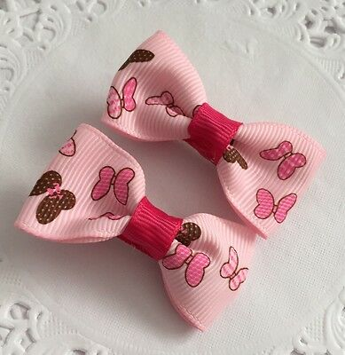 2 Packs Of Pink Butterfly hair Bow Clips/girl Hair Accesories
