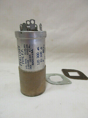 Vintage NOS  MALLORY Dual Capacitor, Type F.P.,  120 and 20 MFD at 300V, FP 218