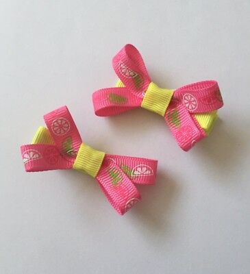 Pair Of Pink And Yellow hair bow Clips/hair Accesories/School Uniform
