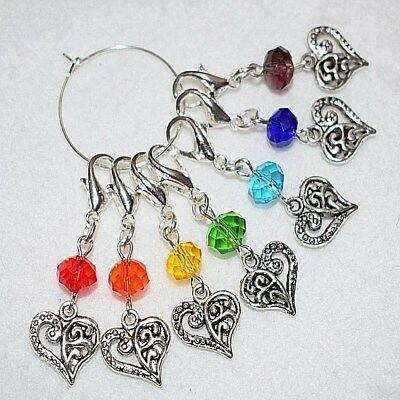Set 7 Colourful Gemstone Chakra Stitch Markers Crochet Clip Counters Charms Gift