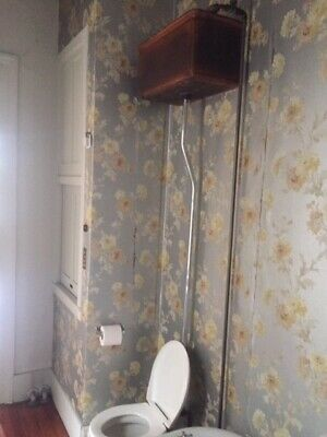 Antique Wood Toilet Tank Wall Mount Wooden copper lined with toilet and works