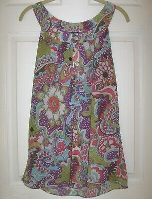 af75ed2374ae NICOLE MILLER Top Tunic Sz 8 Sleeveless Halter Floral Purple Coral Lime Mod  S M