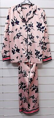 Ladies Satin Long Sleeve Pyjama Set Uk Size 8