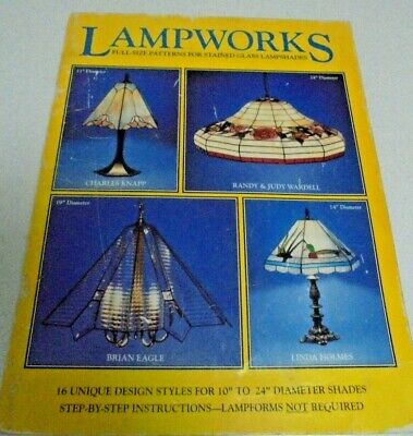 LAMPWORKS Full size patterns for stain glass Lamp shades Lead lighting Book 16 P