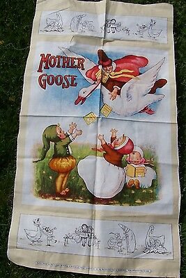 Mother Goose Fabric Panel Vintage Workshop Red Rooster Fabrics