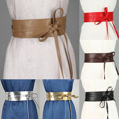 Women Waist Wide Dress Belt Tie Corset Cinch Ladies Soft PU Leather Wrap Around