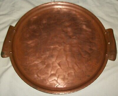ANTIQUE VINTAGE 30s-40s CRAFTSMEN INC. #902 HANDMADE SOLID COPPER SERVING TRAY