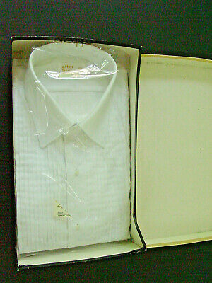 Vintage After Six mens Formal Tuxedo shirt 151/2 33 pleated white NOS in box