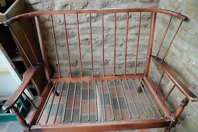 Vintage Ercol Windsor Style Compact Sofa And Chair For Restoration