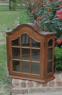 Vintage French Country Oak Hanging Bonnet Top Domed Curio Cabinet Vitrine w Key