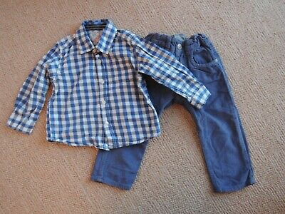 Baby Boys Zara Cords and Blue Checked Shirt 12-18 Months