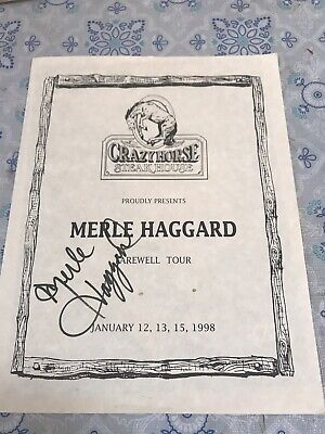Merle Haggard Autographed Hand Signed Farewell Tour From Crazy horse Steakhouse