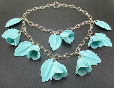 VINTAGE CELLULOID NECKLACE BLUE FLOWERS LEAVES CLEAR CHAIN All Original c1930