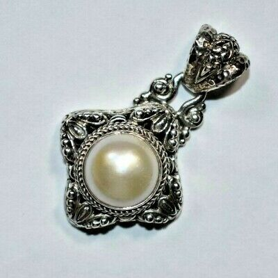 Beautiful SARDA Sterling Silver 925 Faux Pearl Openwork Ball Pendant