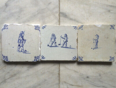 Antique 3 X Dutch Delft Tile People Playing Golf 17TH C.