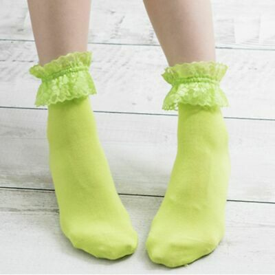 Vintage Lace Ruffle Frilly Ankle Socks Cotton Socks Solid Color For Ladies Girls