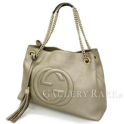 66cb76955847 GUCCI Soho Calf Leather Gold 308982 Chain Shoulder Bag Italy Authentic  5373628